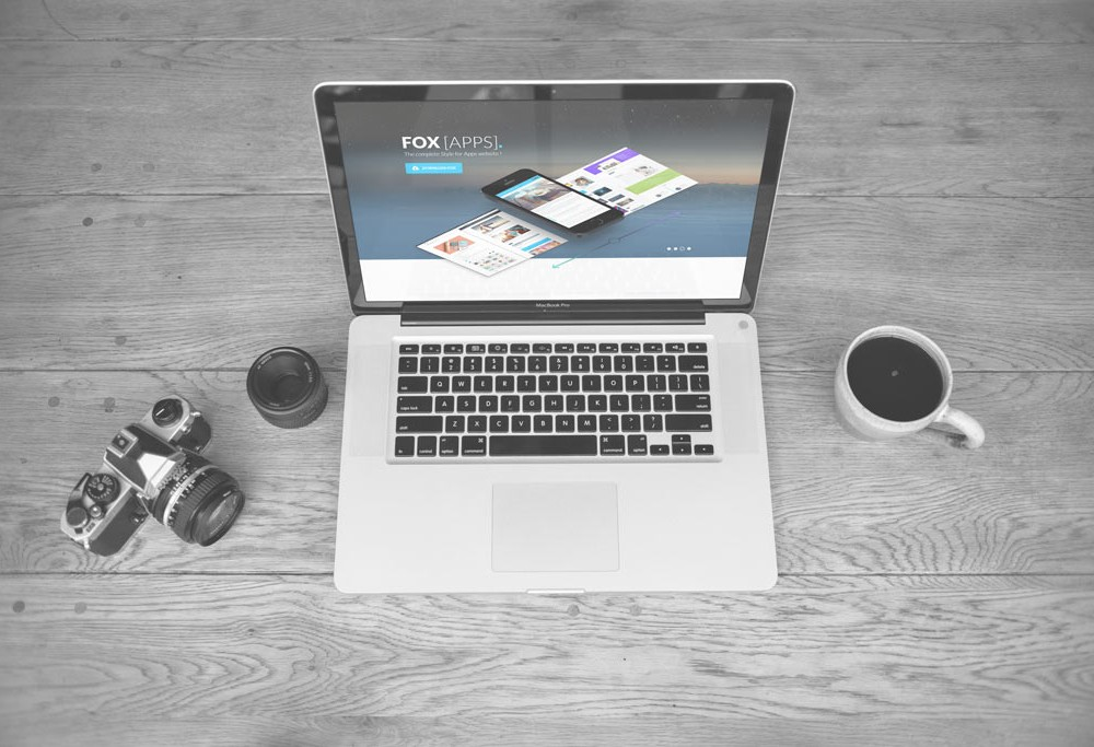 Black and White MacBook Scene Mockup
